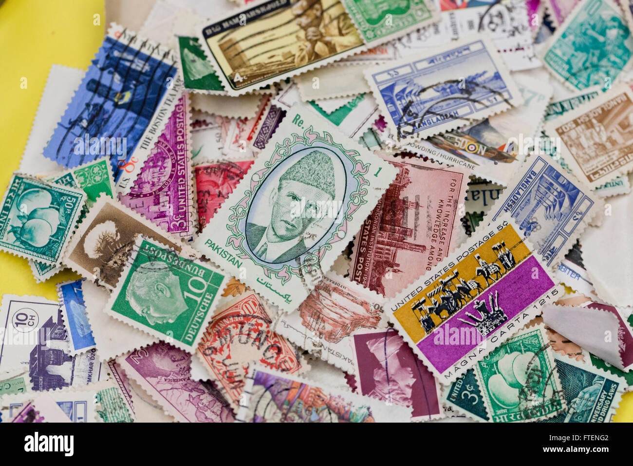 Pile of used stamps - Stock Image