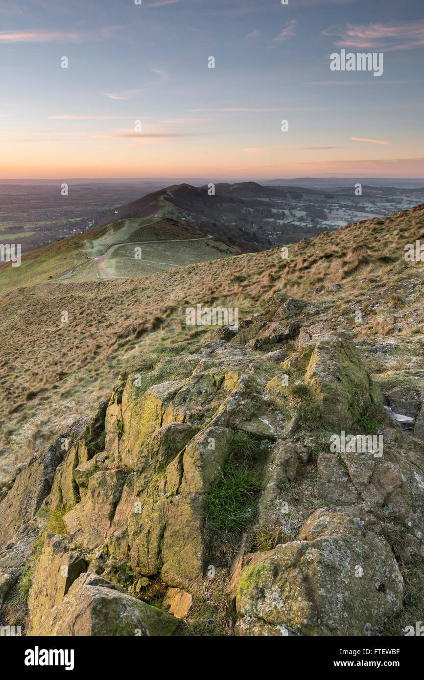 Rocks on the Worcestershire Beacon, part of the Malvern Hills, on a cold January morning. Stock Photo