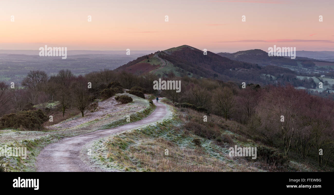 The pink light glows before sunrise over Summer Hill and the Malvern Hills. A walker stands on the path to the Beacon Stock Photo