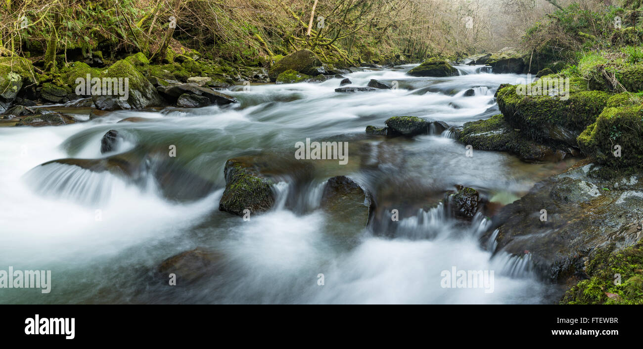 A Waterfall along the East Lyn River near Lynmouth, Devon, England. Stock Photo