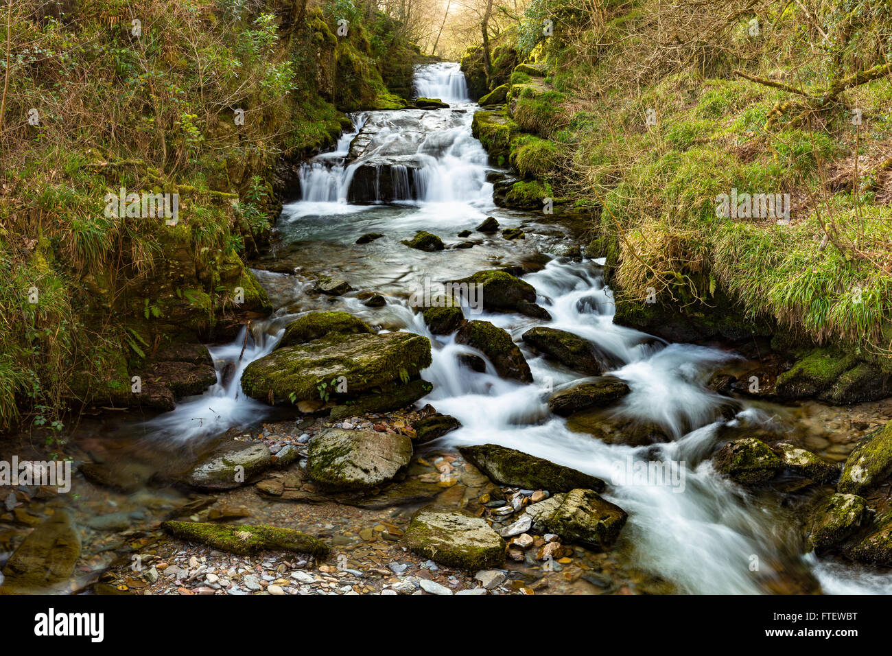 A Waterfall at the mouth of Hoaroak Water where it joins the East Lyn River at Watersmeet near Lynmouth, Devon, Stock Photo