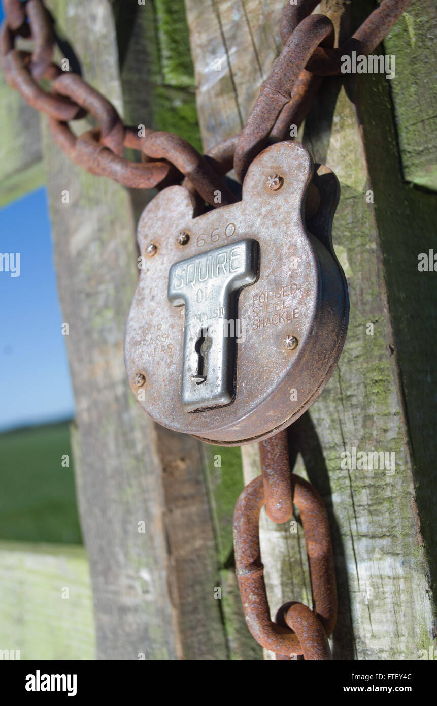 Wooden gate securely locked with padlock and chain - Stock Image