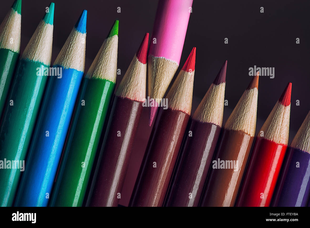 Colored pencils in various angles - Stock Image