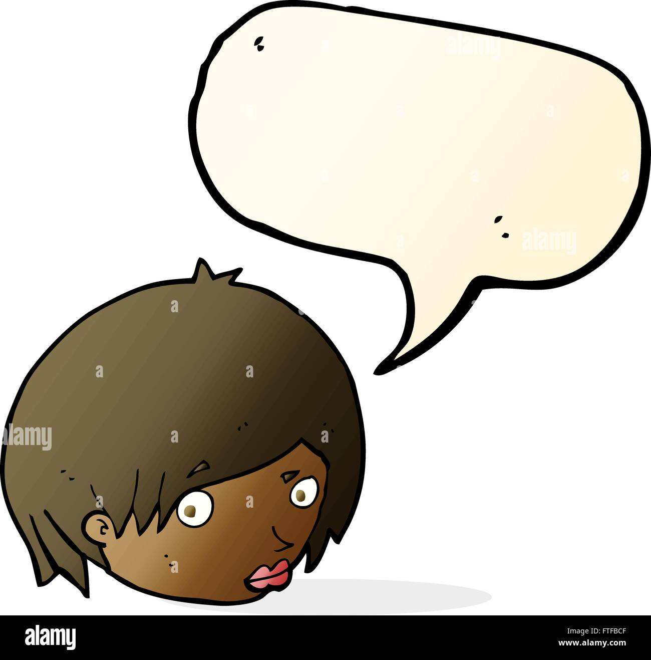 Cartoon Female Face With Raised Eyebrow With Speech Bubble Stock