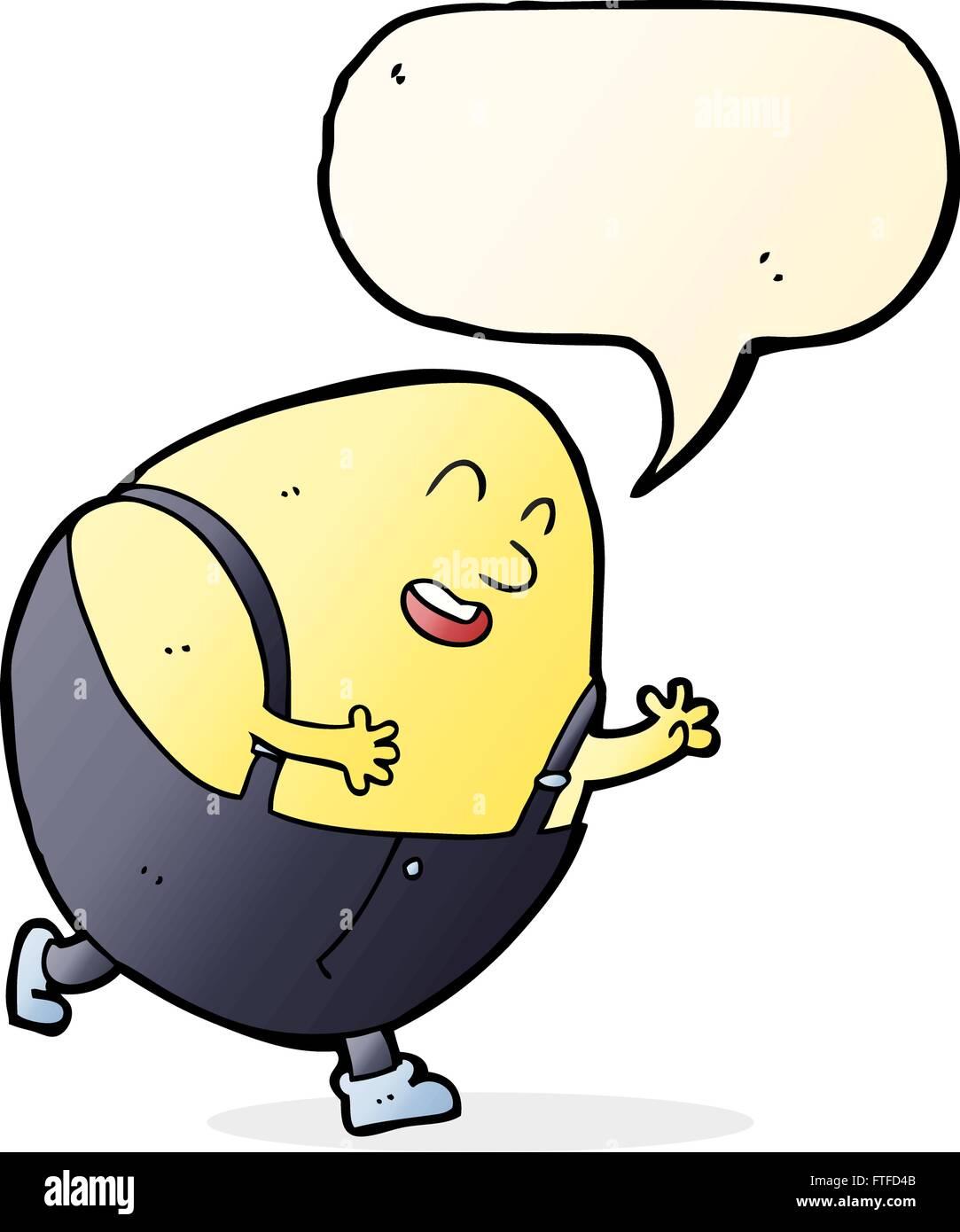 cartoon humpty dumpty egg character with speech bubble Stock Vector