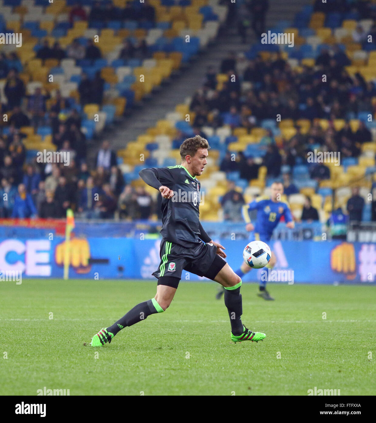 Kyiv, Ukraine. 28th March, 2016. Emyr Huws of Wales (№8) controls a ball during the Friendly match against Ukraine Stock Photo