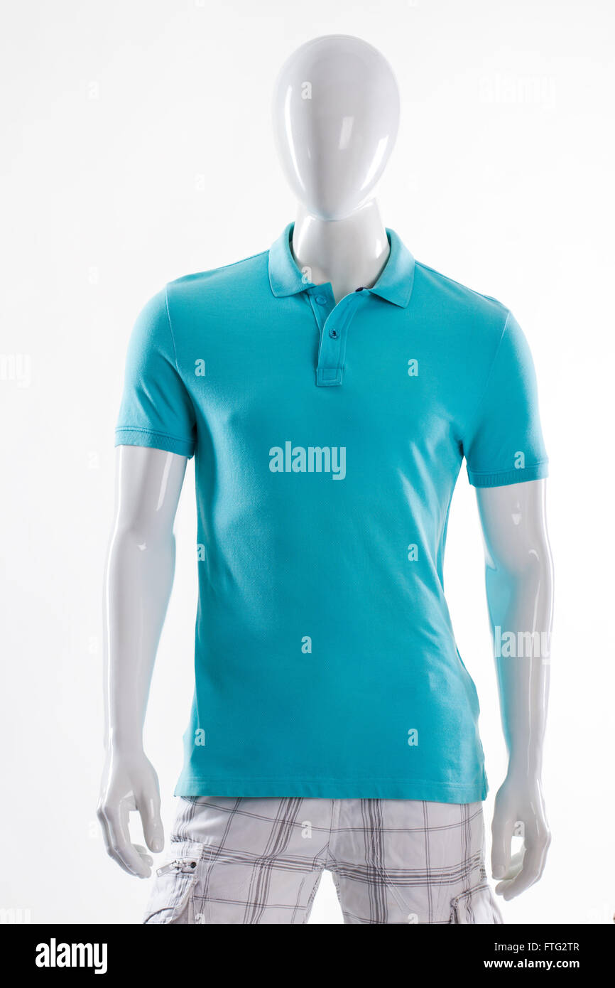2063060d4581 Blue polo t-shirt on mannequin. Male mannequin in fitted t-shirt. Man s  t-shirt of bright color. Simple summer garment for men.