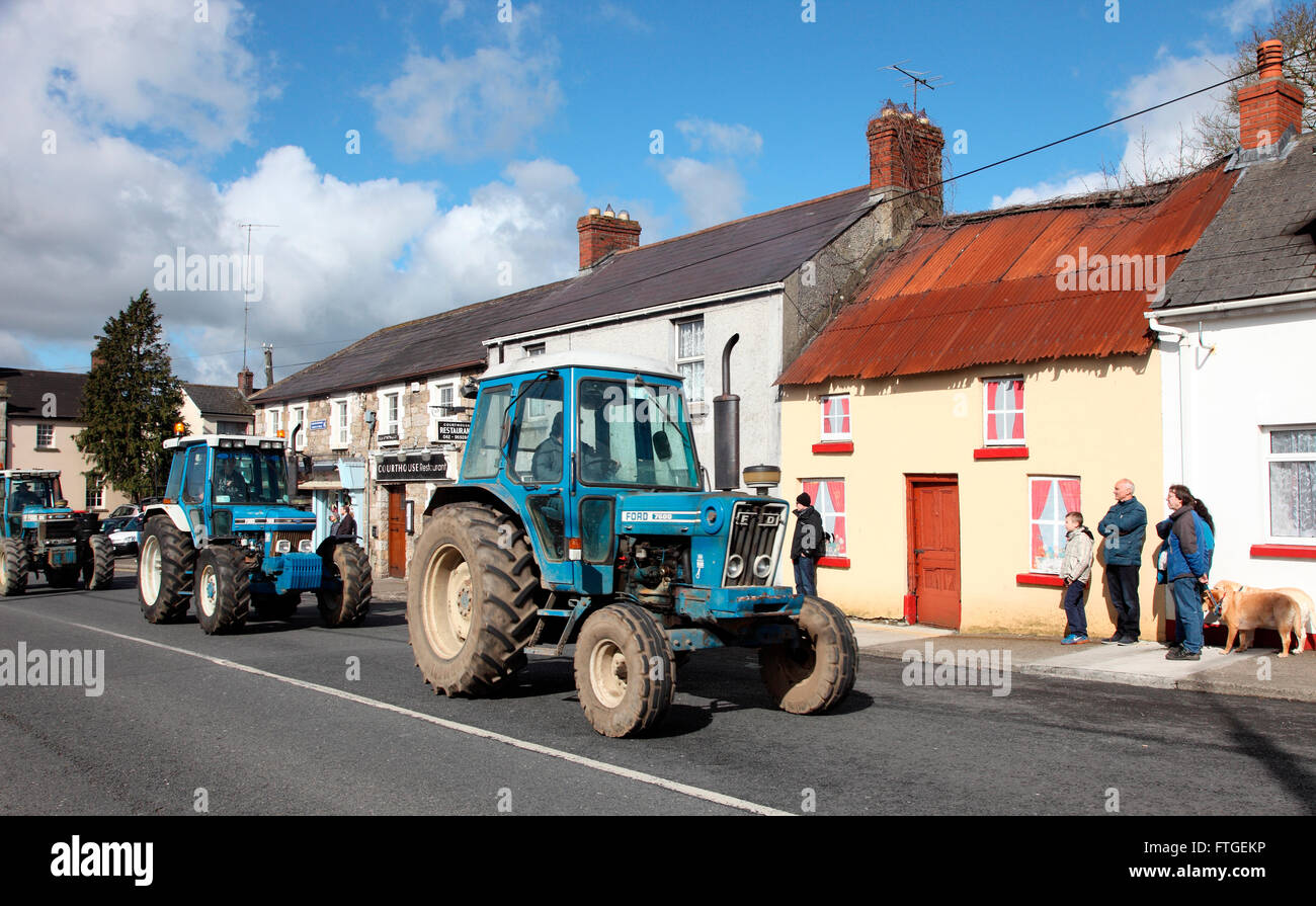 Tractors travel through Carrickmacross on Easter Monday 2016 Stock Photo