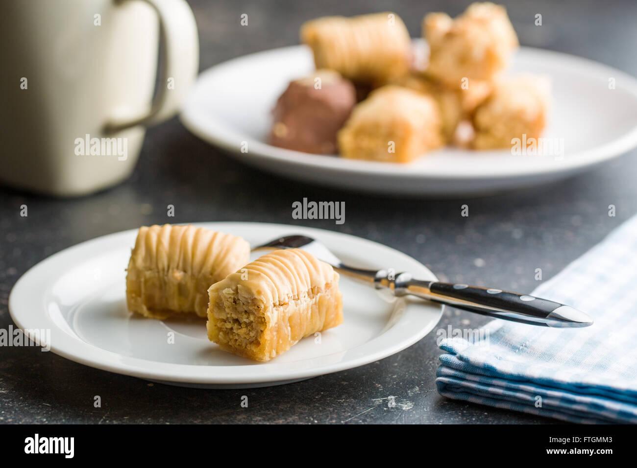 sweet baklava dessert on plate - Stock Image