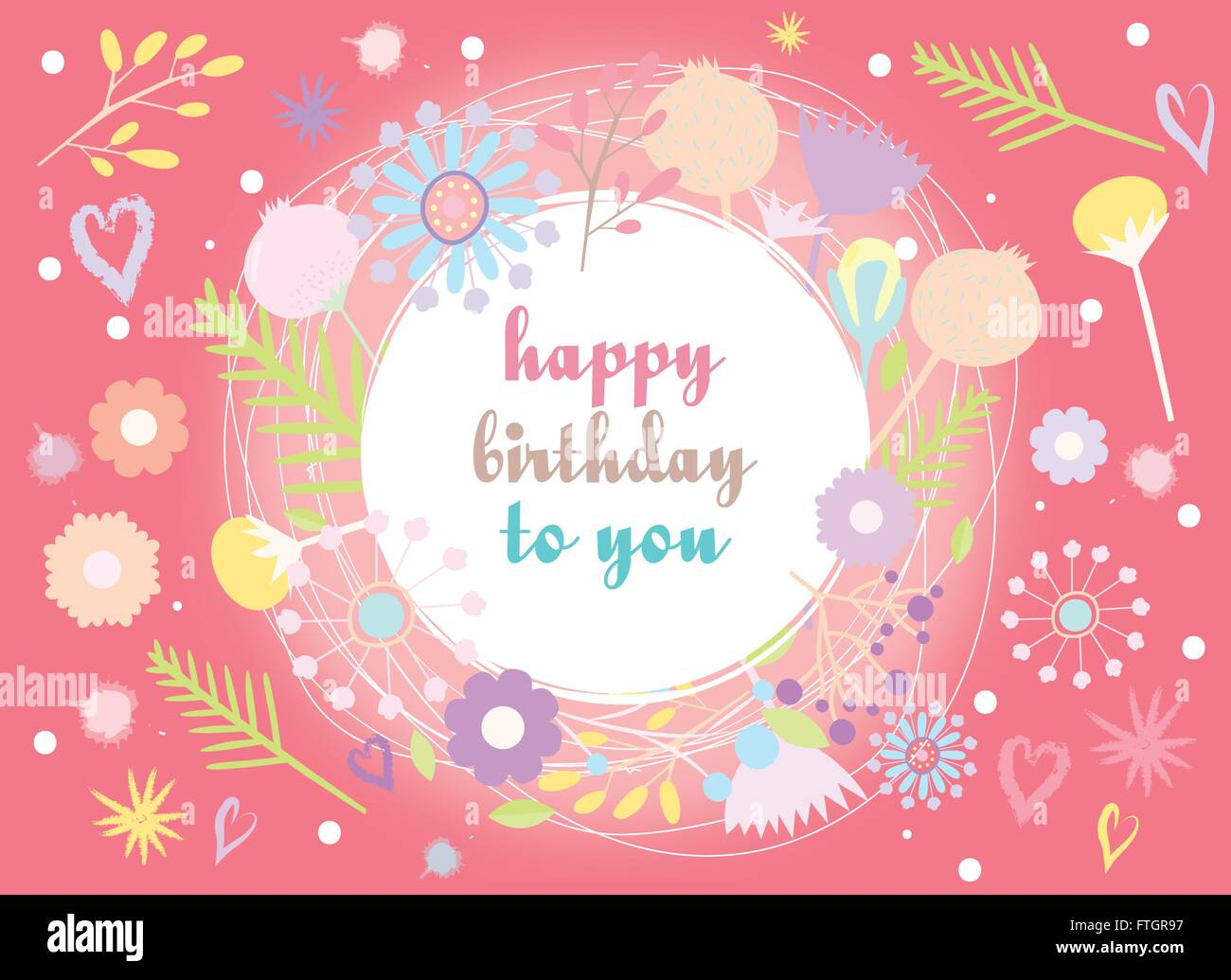 Happy Birthday To You Cute Greeting Card Vector Illustration Stock