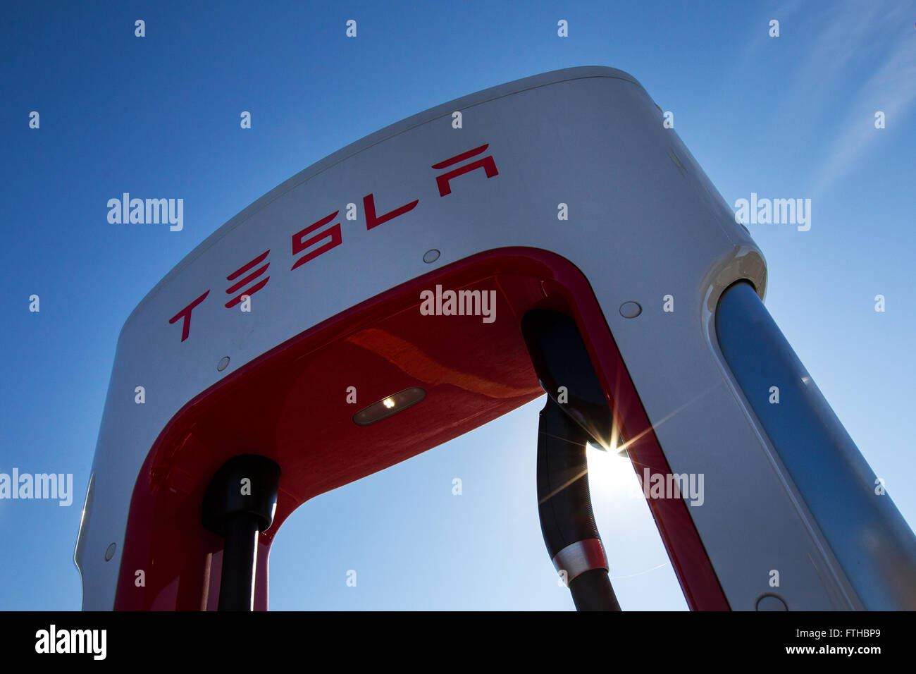 Tesla Motors recharging units at King's Cross outlet mall in in Kingston, Ont., on Tuesday Nov. 3, 2015. Stock Photo