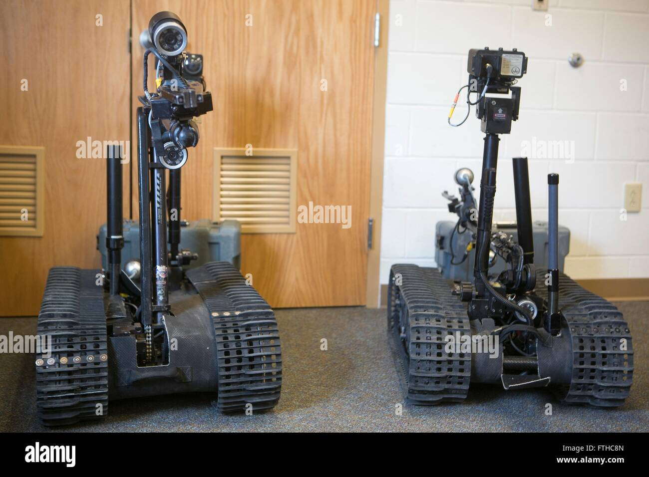 Two Man Transportable Robotics System MK2 Talons remote controlled robots used for explosive ordnance disposal during - Stock Image