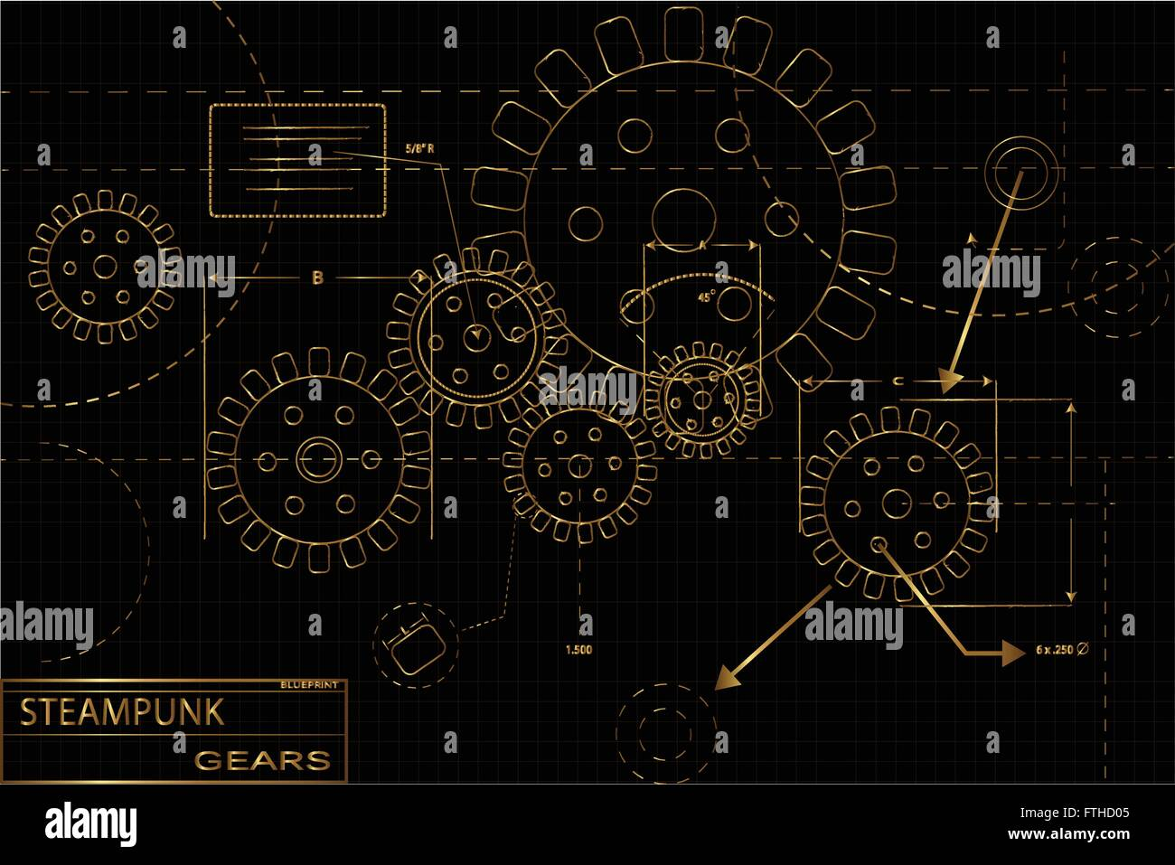 Gold and black steampunk gears blueprint vector illustration stock gold and black steampunk gears blueprint vector illustration malvernweather Image collections