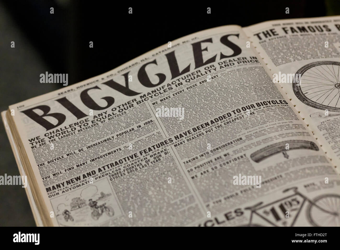 Bicycles page in 1908 Sears Roebuck Catalogue book - USA - Stock Image