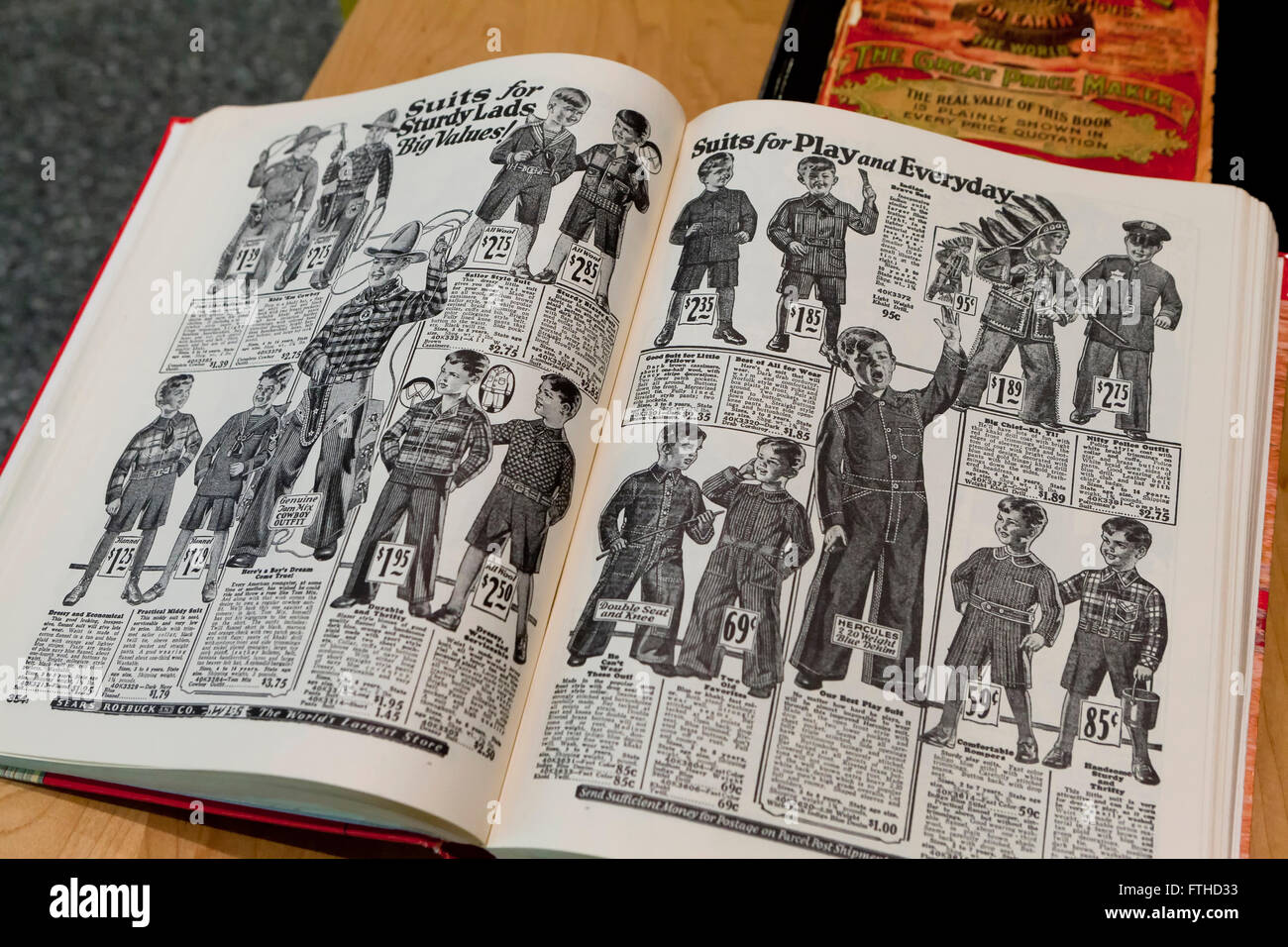 Boys Wear pages from 1902 Sears Roebuck Catalogue book - USA - Stock Image