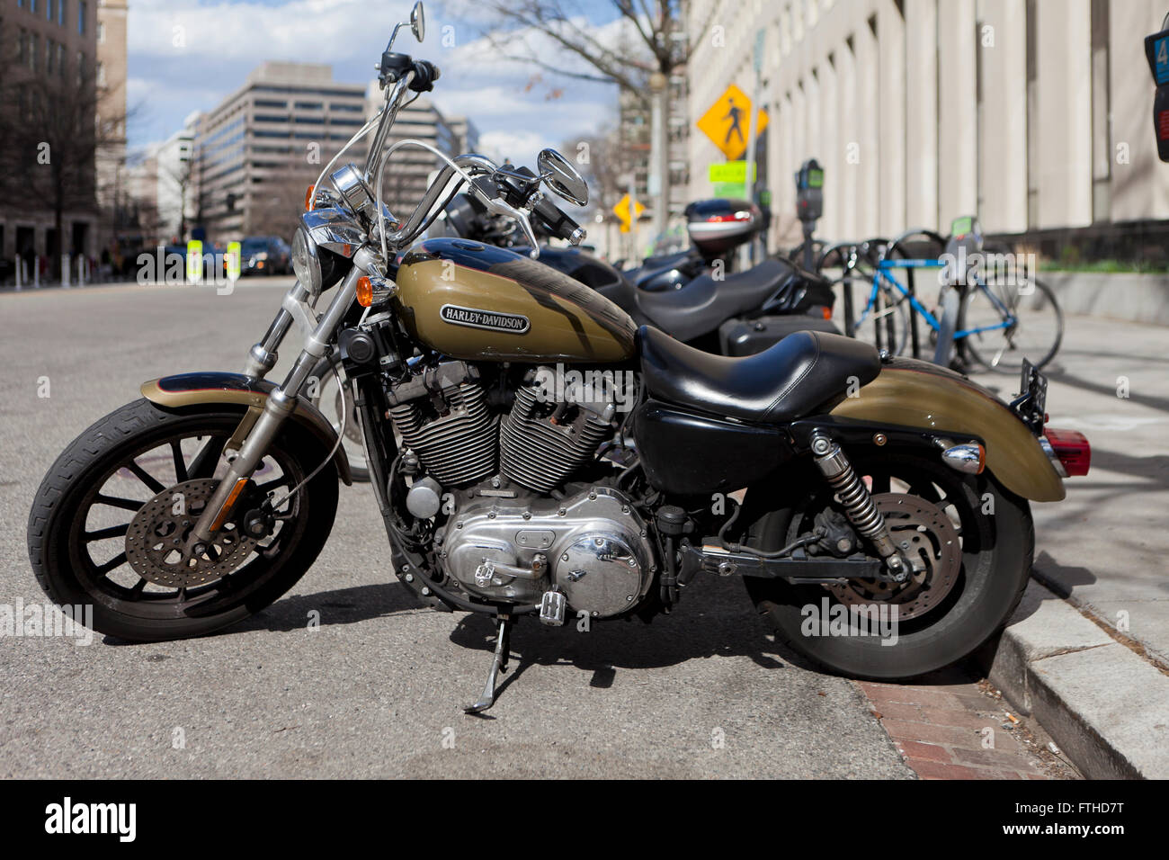 500cc Harley Davidson motorcycle parked roadside - USA Stock Photo