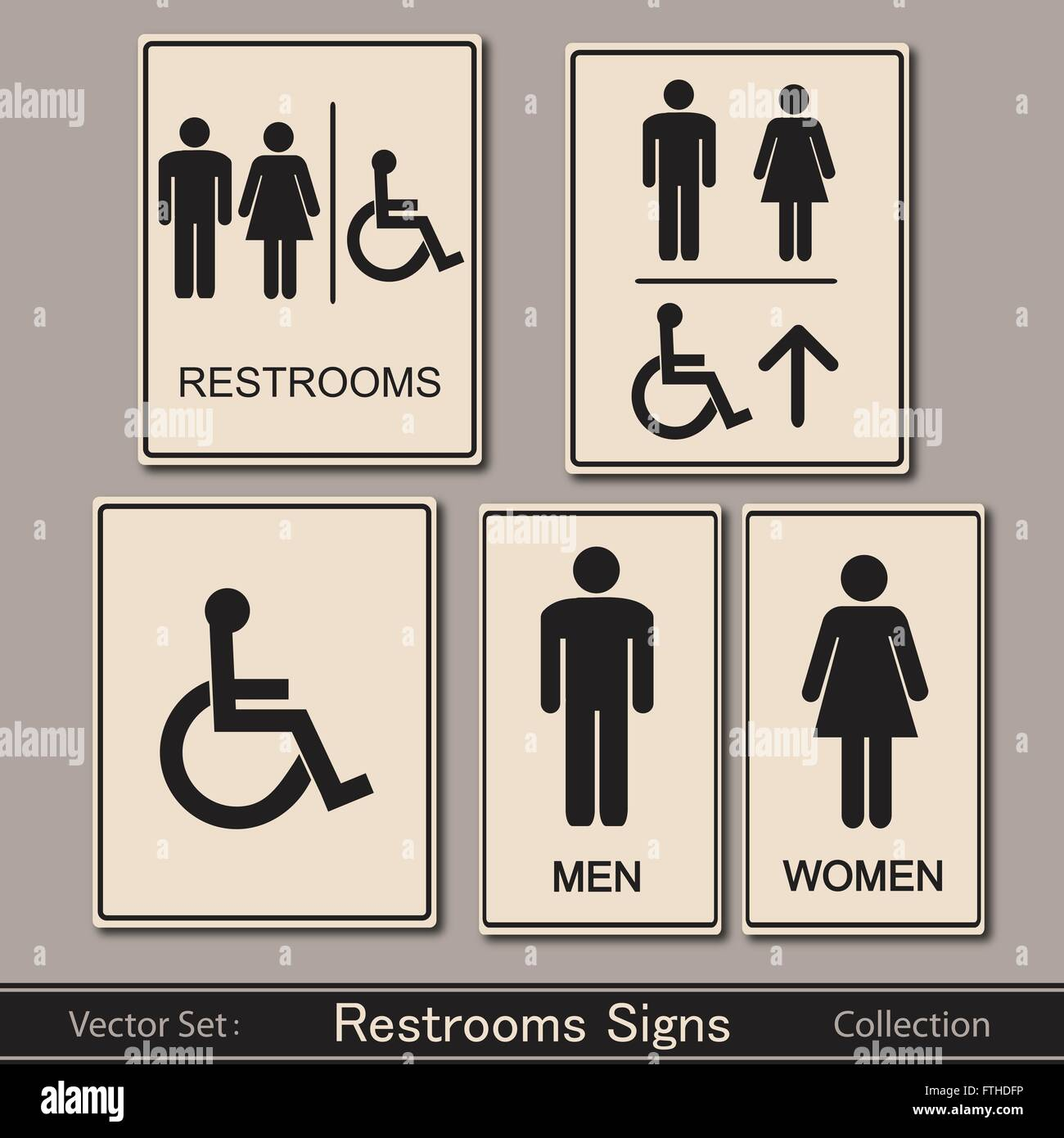 Restroom Signs Collection Vector Illustration Stock Vector