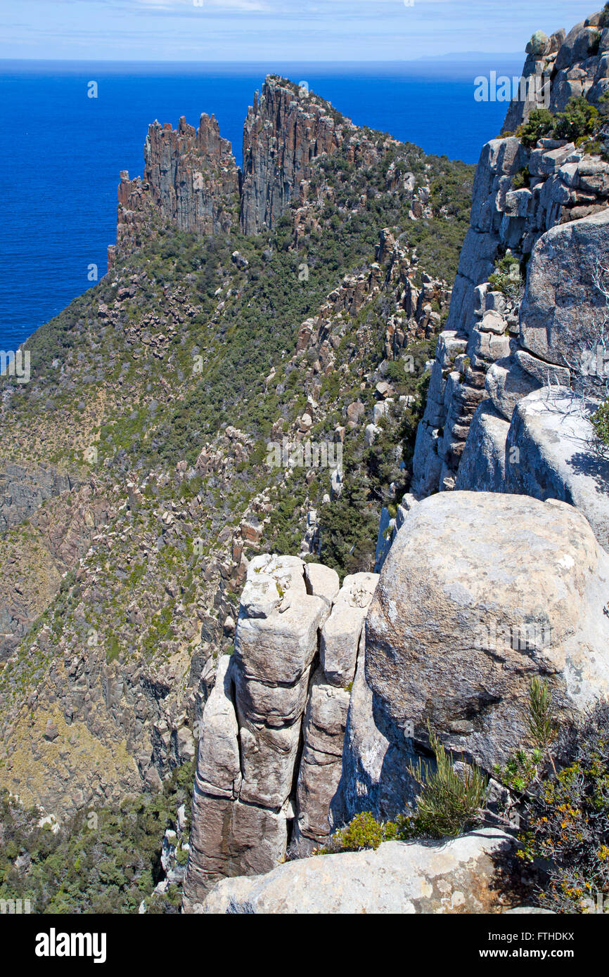 The dolerite columns of Cape Pillar and the Blade - Stock Image