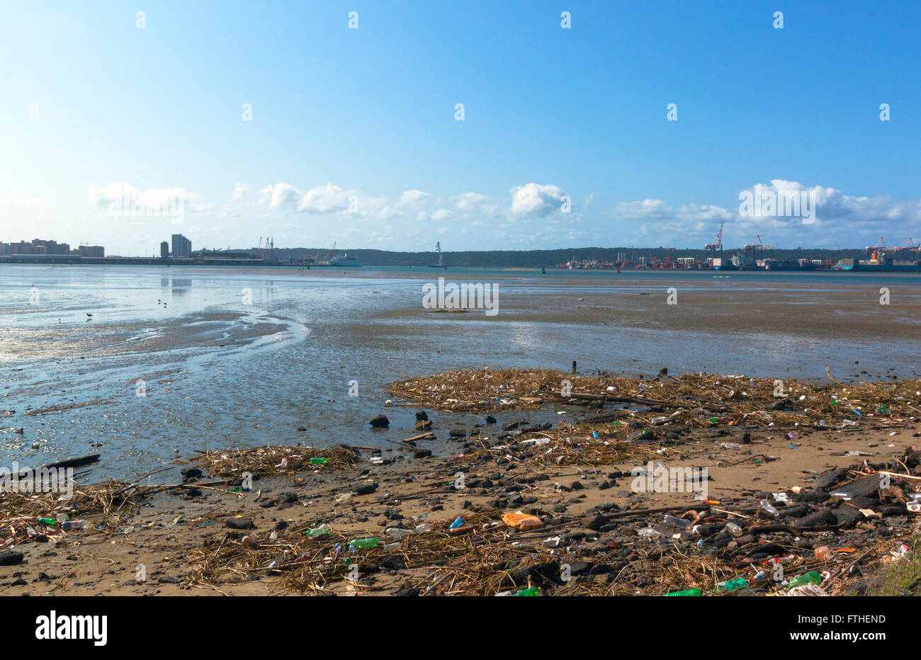 pollution and litter in the shallows of harbor - Stock Image