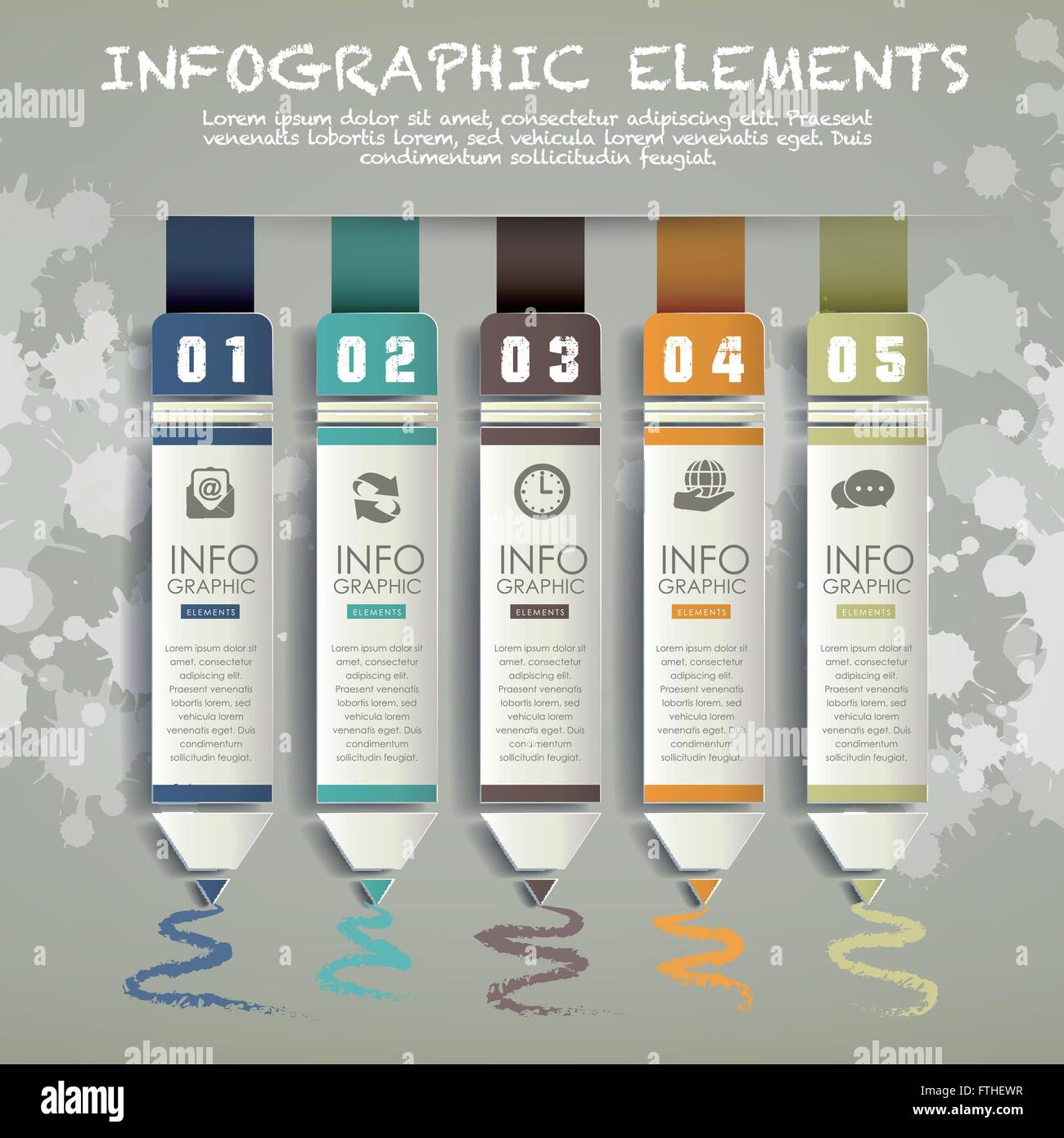 creative paper pencil bar chart infographic elements template stock