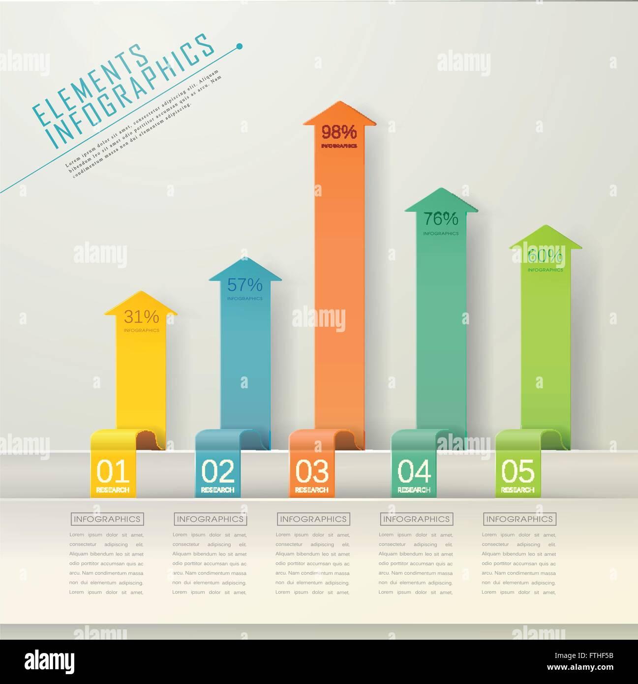 modern arrow bar chart infographic elements template stock vector