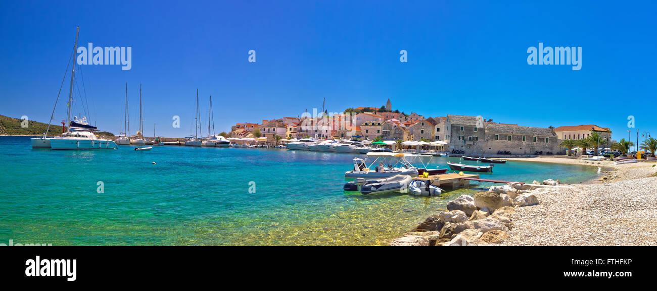 Primosten beach and harbor panoramic view, Dalmatia, Croatia - Stock Image