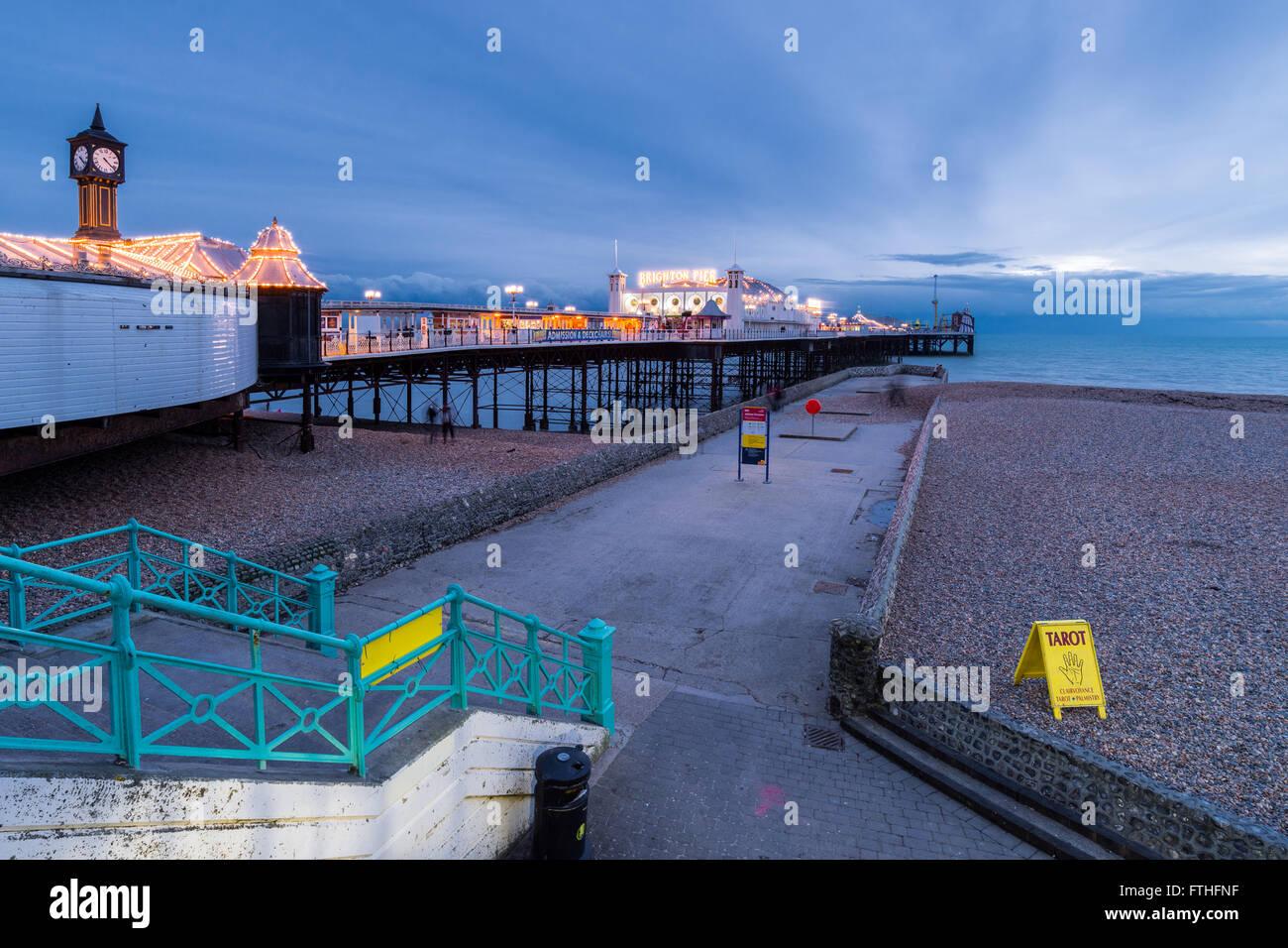 Brighton Pier at night Stock Photo