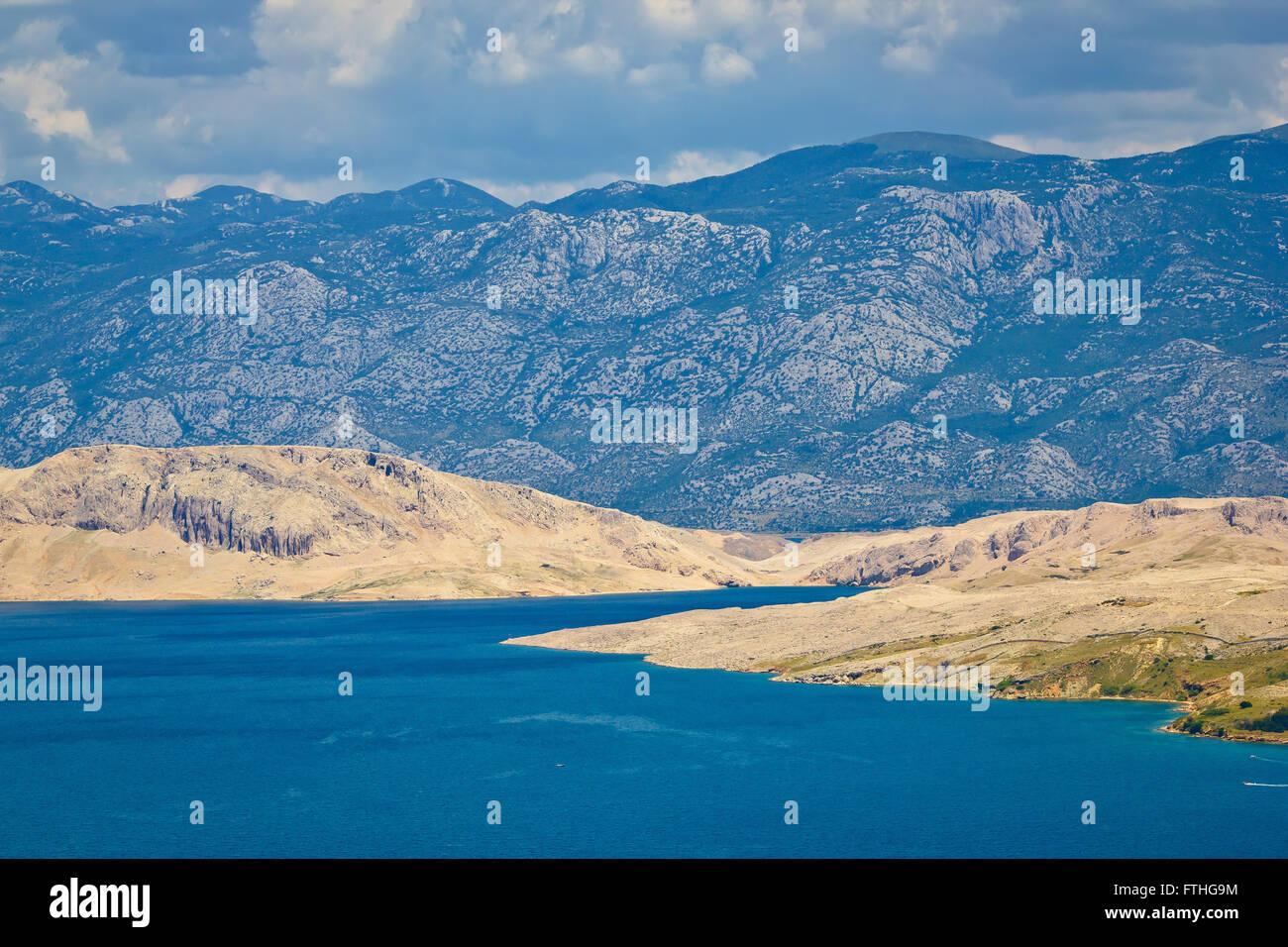 Island of Pag and Velebit mountain, Croatia - Stock Image