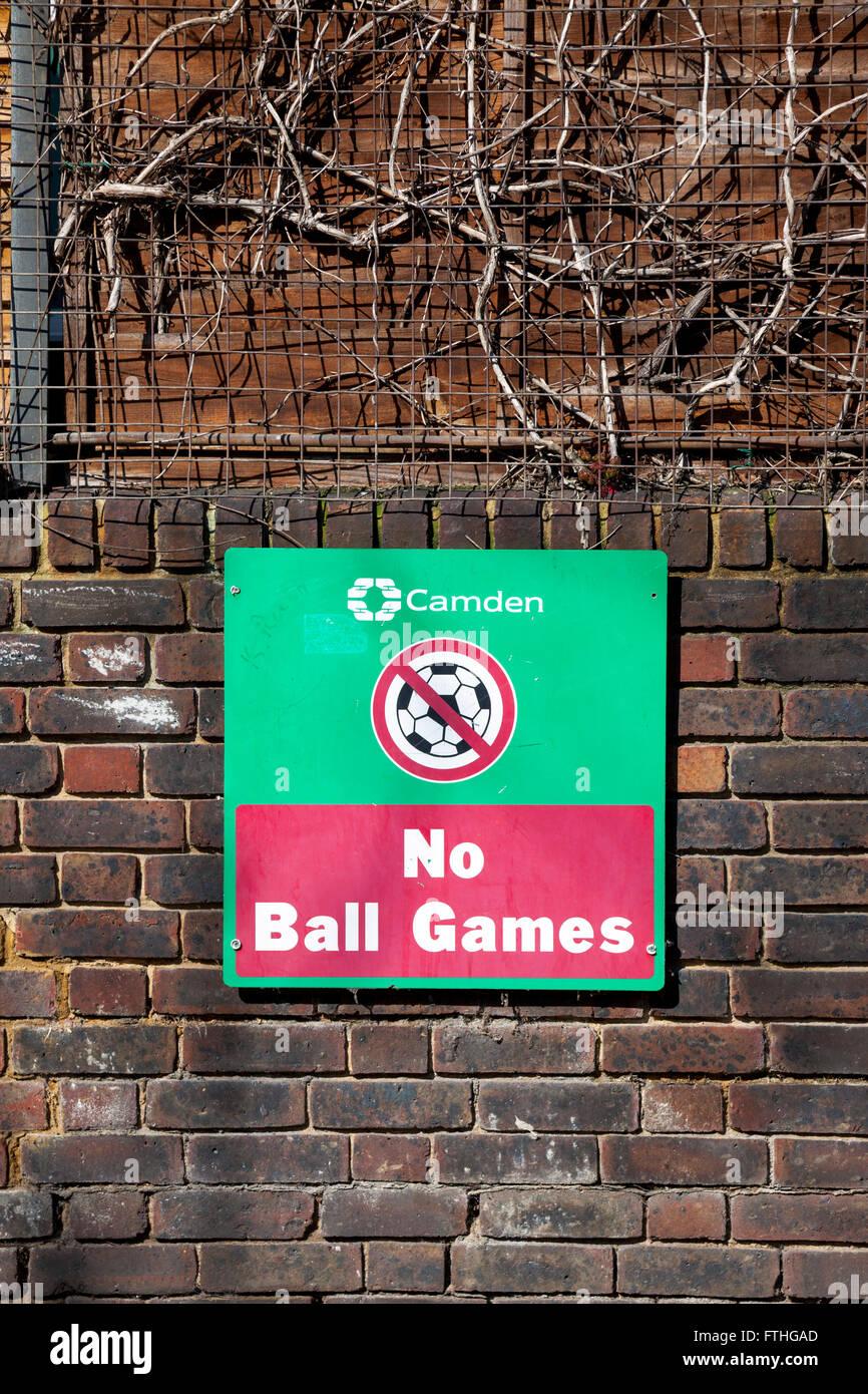 'No Ball Games Sign' at the council estate in Camden - Stock Image