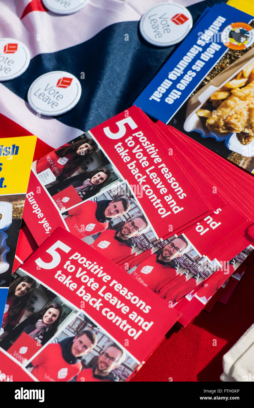 A variety of leaflets supporting the UK exit from the European Union. - Stock Image