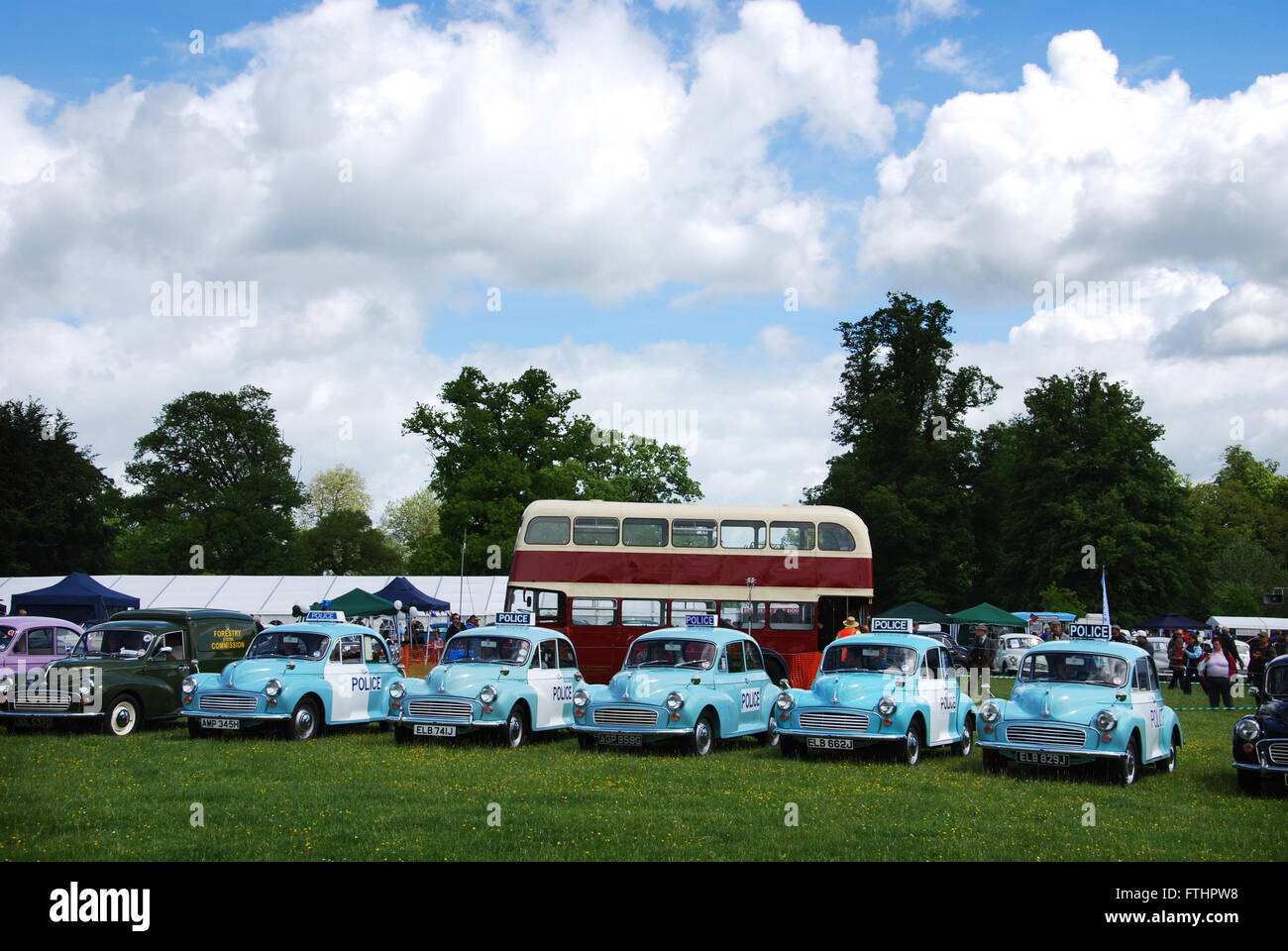 vintage police Minors at Morris Centenary celebrations at Cornbury Park, Charlbury Oxford, United Kingdom Stock Photo