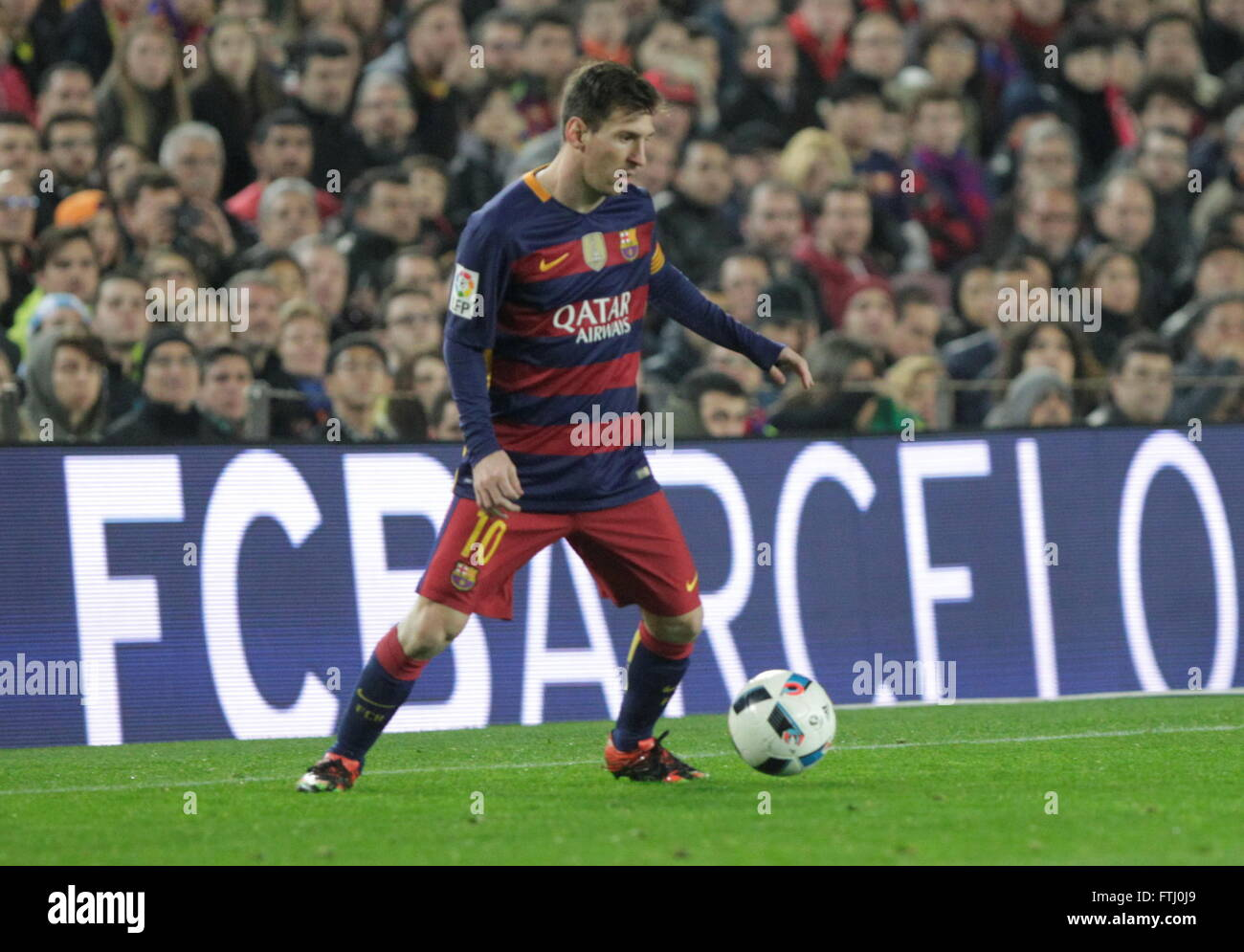 Barcelona, Spain, January 27, 2016: King Cup Lionel Messi actio during the match between FC Barcelona - Atlético - Stock Image