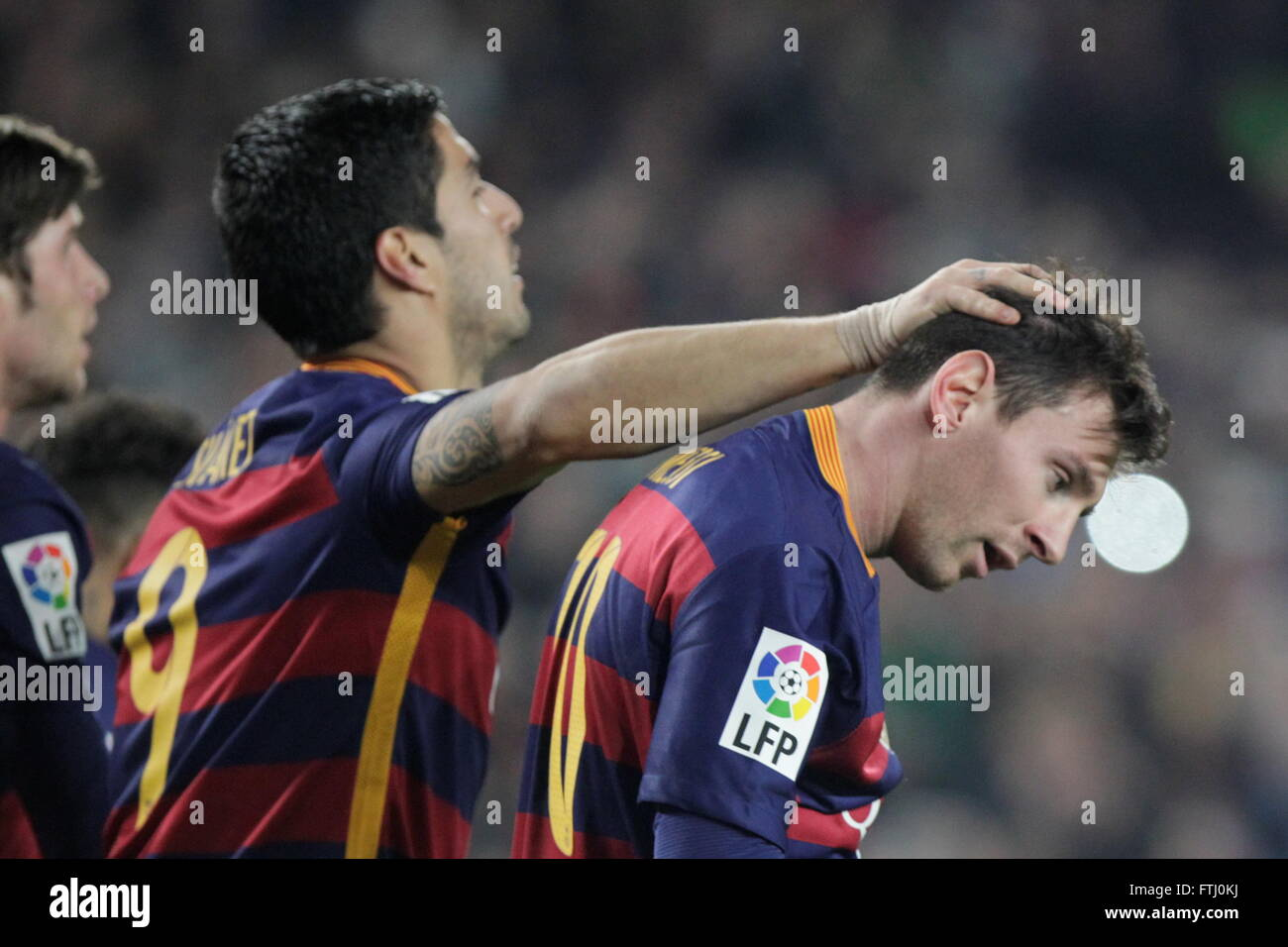 Barcelona, Spain, January 27, 2016: King's Cup: congratulation after the goal of Luis Suarez - Stock Image