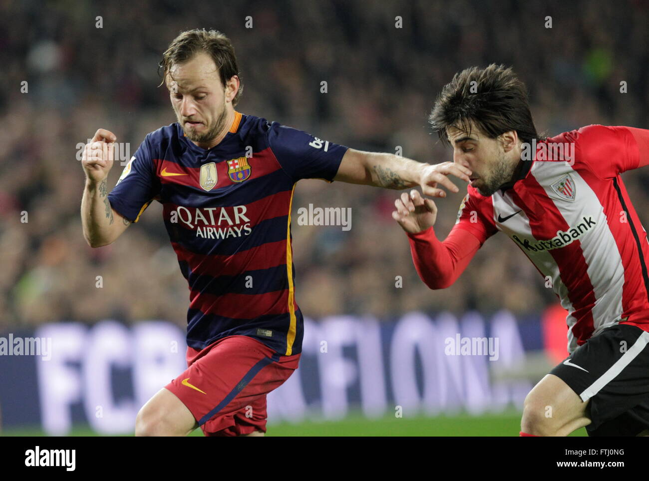 Barcelona, Spain, January 27, 2016: King Cup Ivan Rakitic actio during the match between FC Barcelona - Atlético - Stock Image