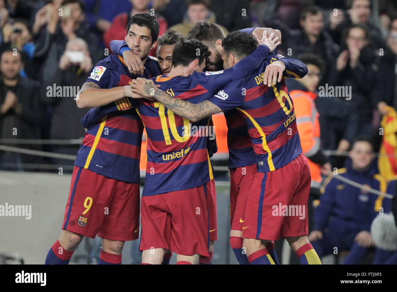 Barcelona, Spain, January 27, 2016: King's Cup: congratulation after the goal of Gerard Piqué during the - Stock Image