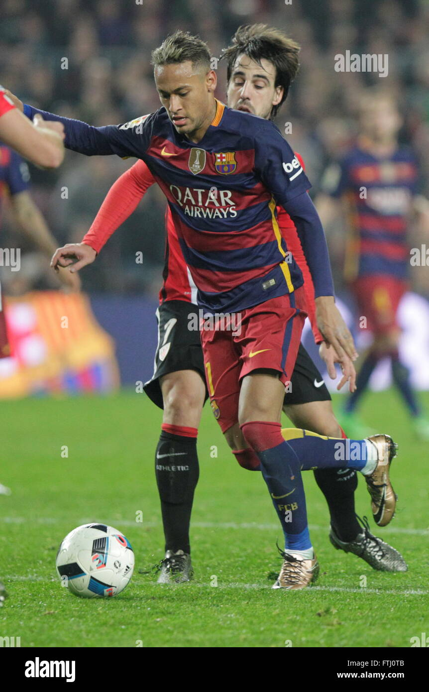 Barcelona, Spain, January 27, 2016: King Cup Neymar jr actio during the match between FC Barcelona - Atlético - Stock Image