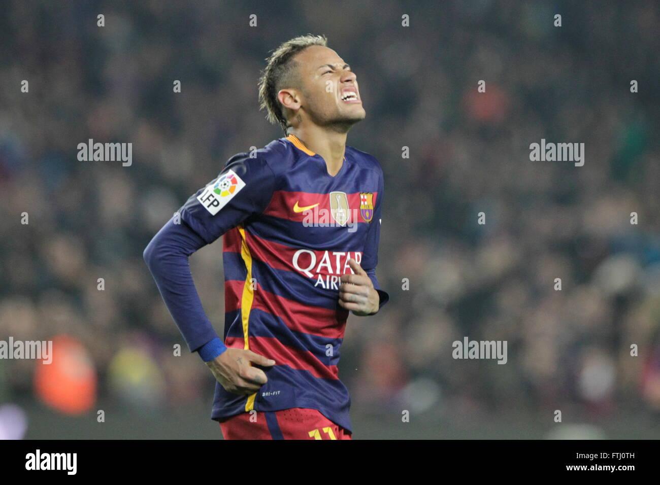 Barcelona, Spain, January 27, 2016: King Cup Neymar jr actio during the match between FC Barcelona - Atlético - Stock Image