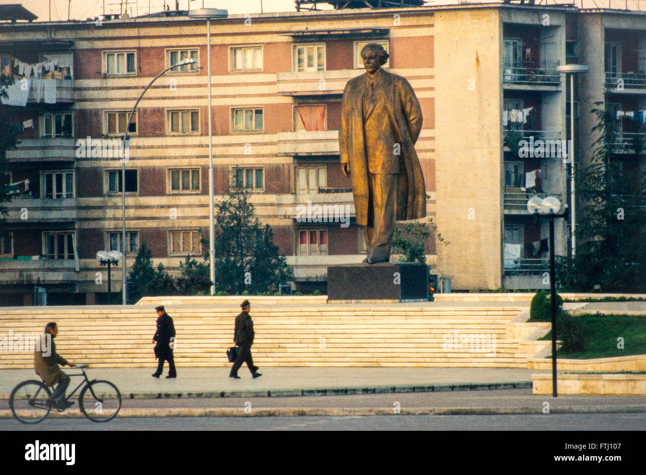 The statue of Enver Hoxha, the founder of the communist state, Tirana, 1990 - Stock Image