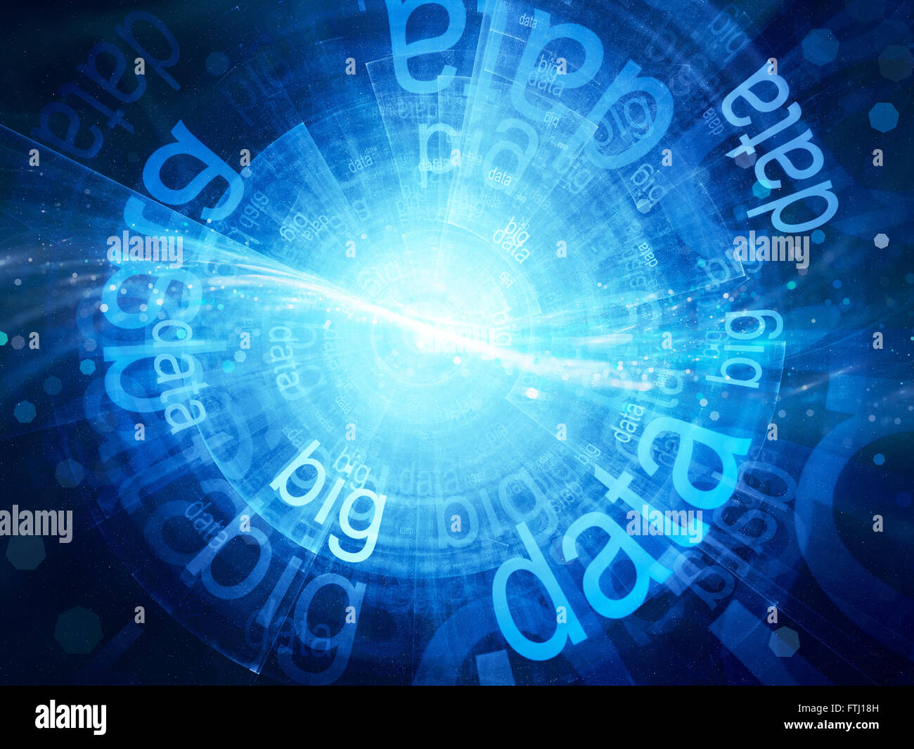 Blue glowing big data, computer generated abstract background - Stock Image