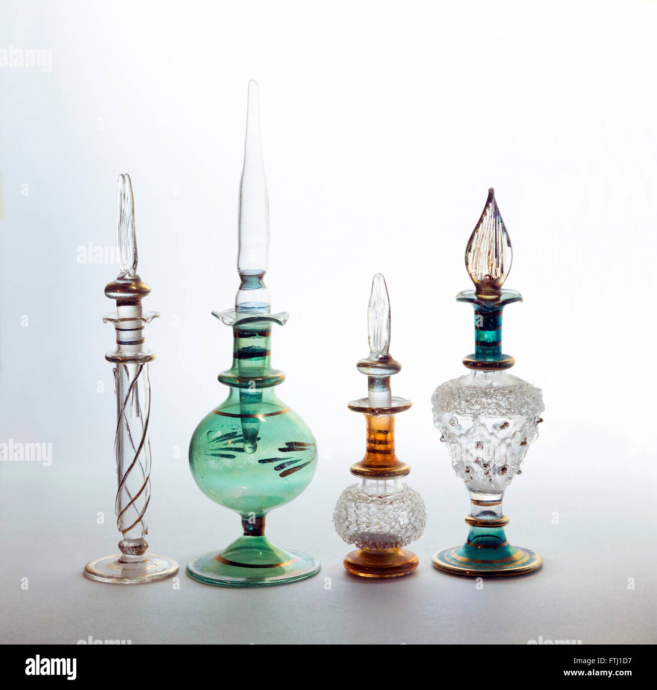 Egyptian perfume / scent bottles with droppers Stock Photo