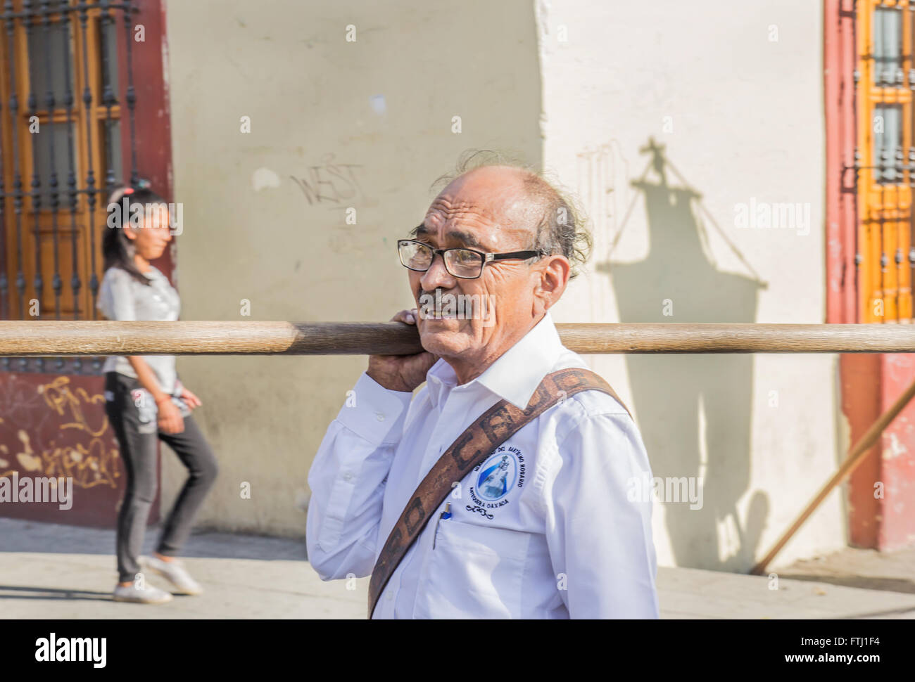 A man going to the Holy Friday procession in Oaxaca. - Stock Image