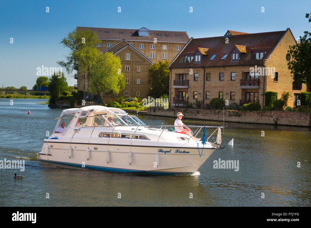 boat on the river Great Ouse in St Ives in Cambridgeshire UK - Stock Image