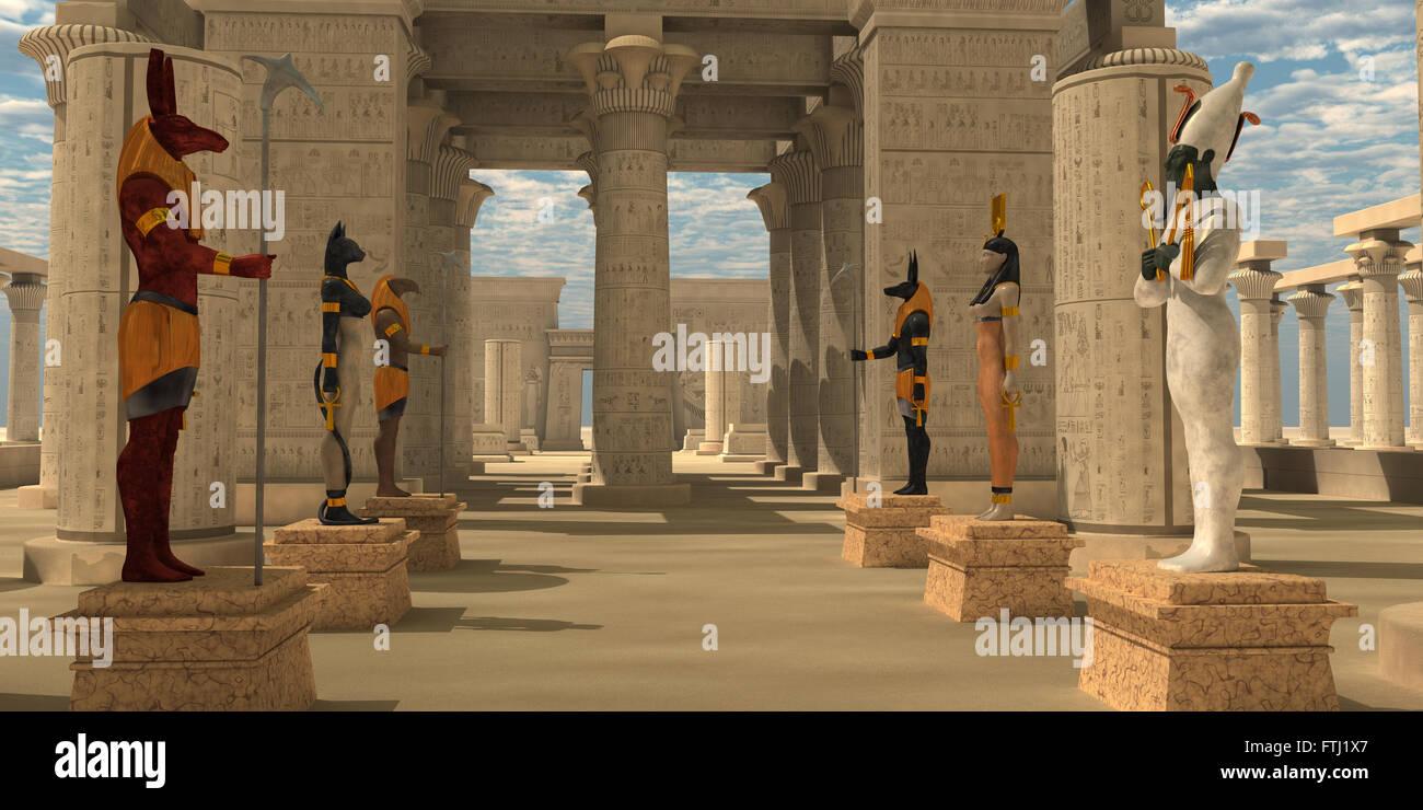 A Pharaoh's temple to worship Egyptian gods Seth, Ra, Anubis, Hathor, Osiris, and Bast. - Stock Image