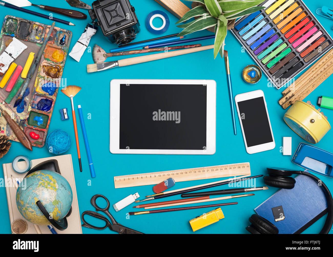 Creative responsive design tablet hero header - Stock Image