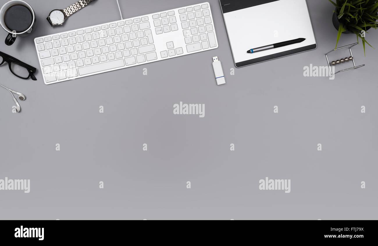 top view office desk hero header - Stock Image