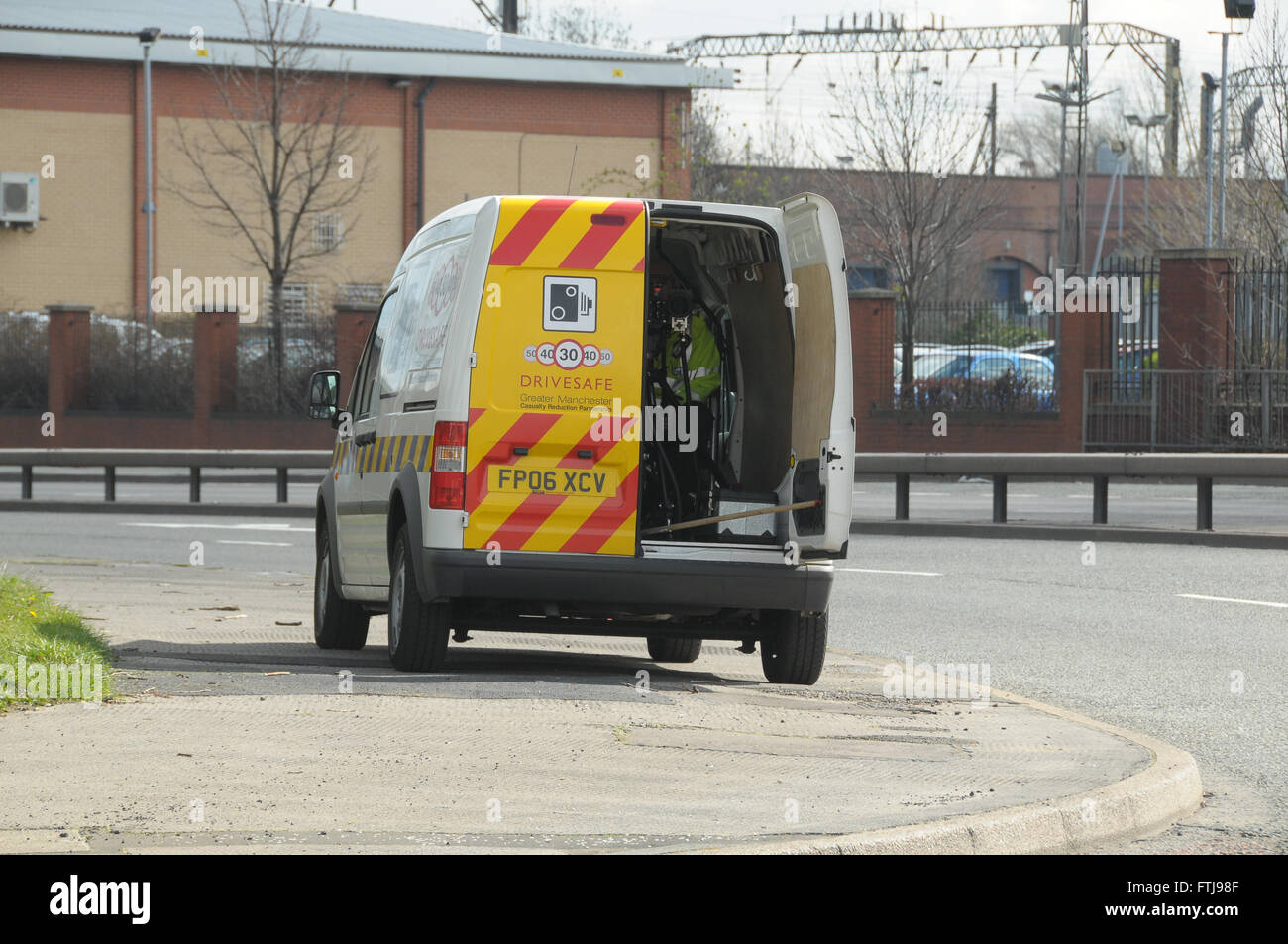 A Safety Camera Van parked across the pavement at the end of the Mancunian way Manchester trying to catch speeding - Stock Image