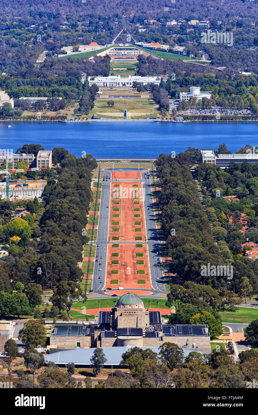 Aerial view along Anzac parade in Australian Capital Canberra. Vertical image from the War Memorial towards lake - Stock Image
