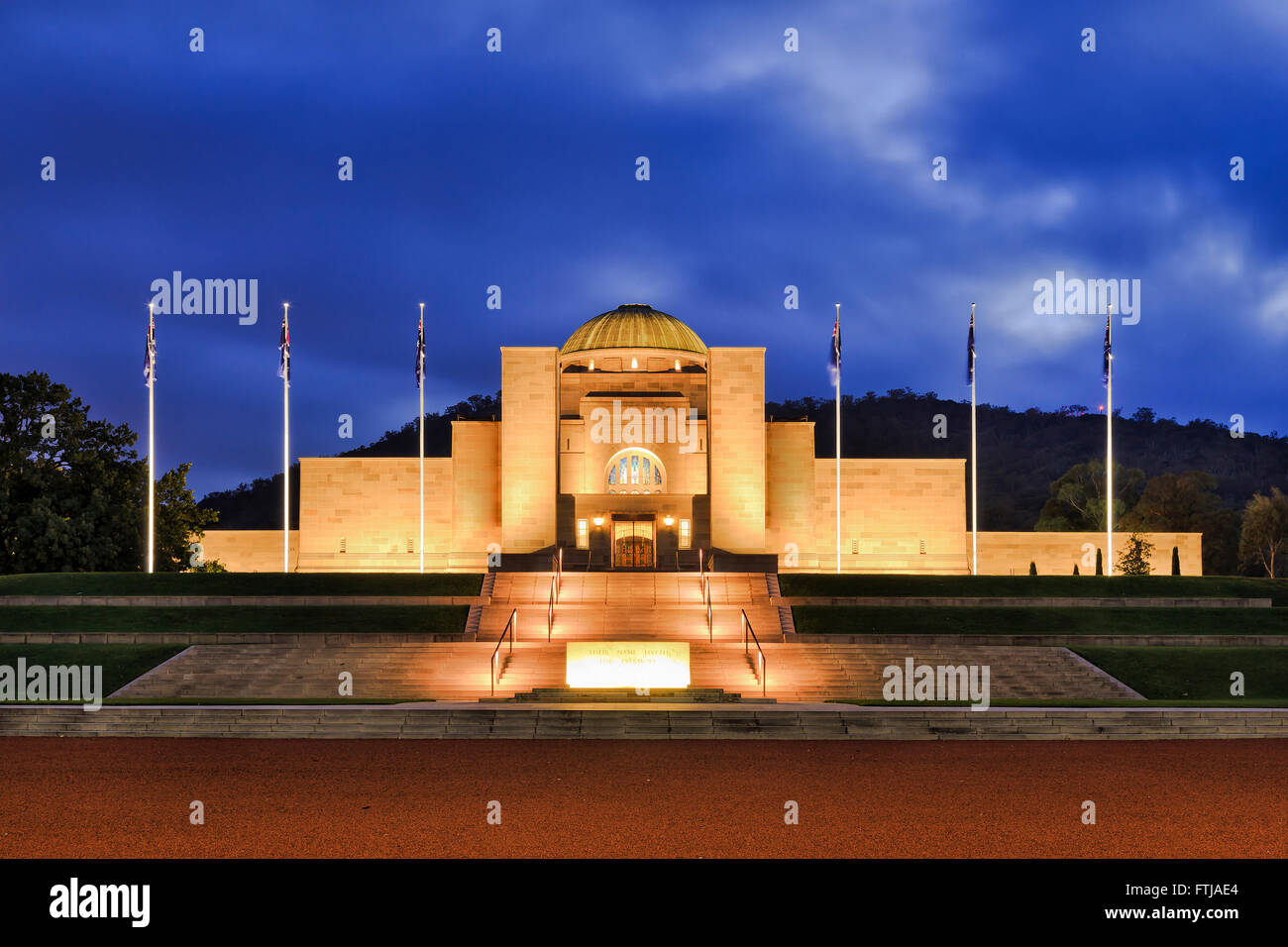 Facade and entrance to Australian Canberra War Memorial complex at sunrise. Historic museum is free for public and - Stock Image