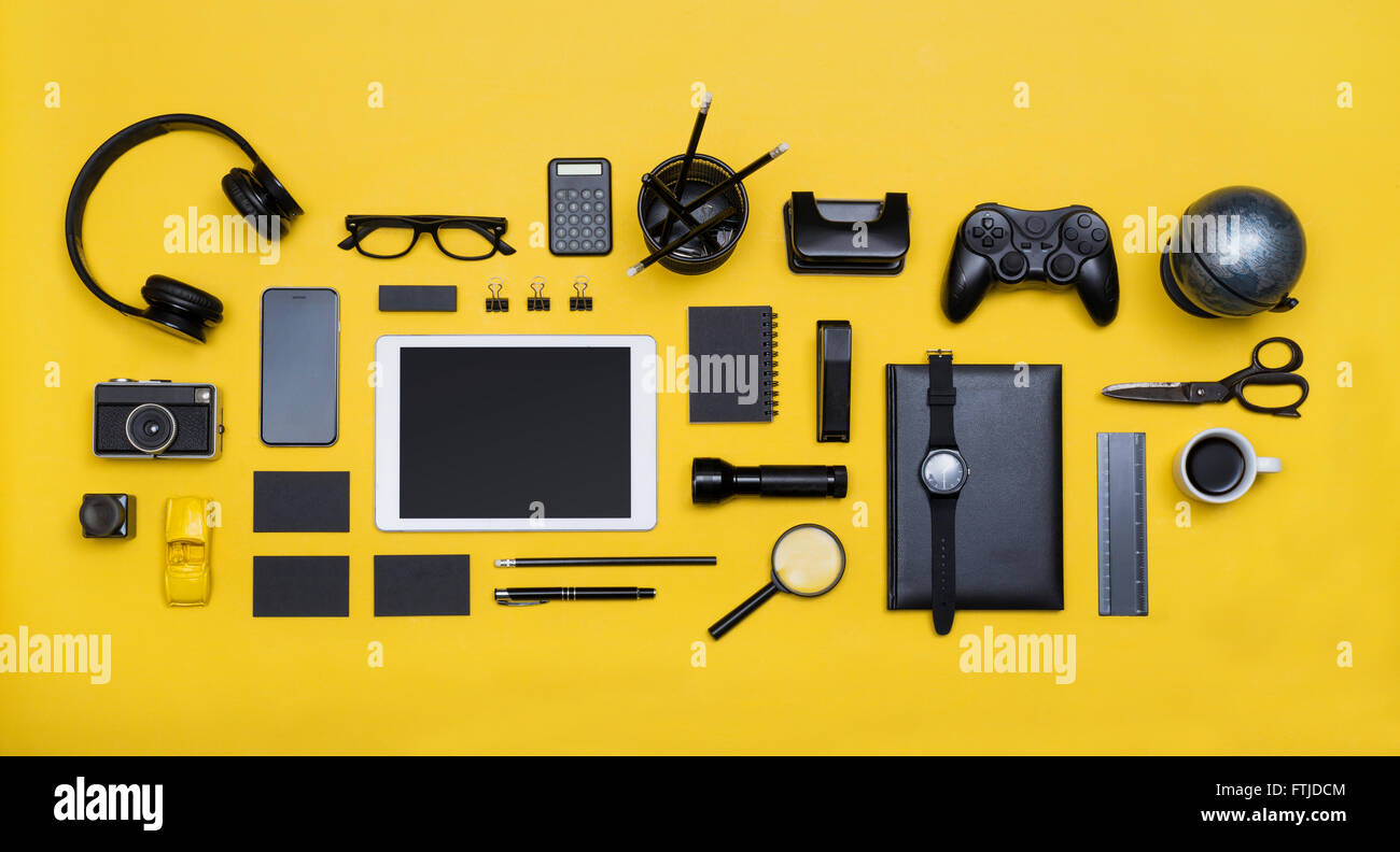 Top view social media hero header on yellow background - Stock Image