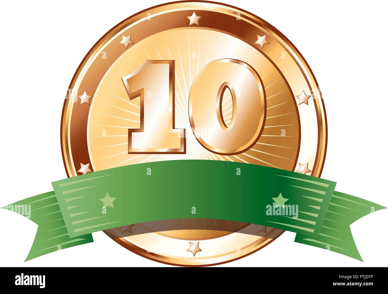 Round circle shaped metal badge / seal of approval in a bronze look with a green ribbon and the number ten. - Stock Vector
